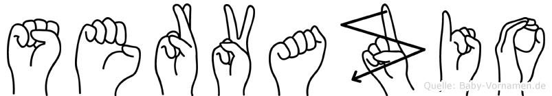Servazio in Fingersprache für Gehörlose
