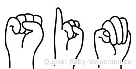 Sim in Fingersprache für Gehörlose