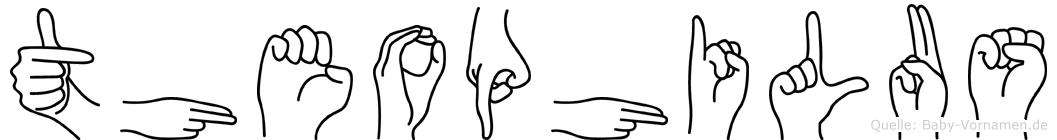 Theophilus im Fingeralphabet der Deutschen Gebärdensprache
