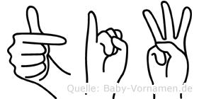 Tiw im Fingeralphabet der Deutschen Gebärdensprache