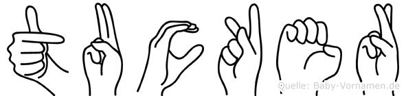Tucker im Fingeralphabet der Deutschen Gebärdensprache