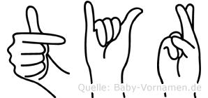 Tyr in Fingersprache für Gehörlose