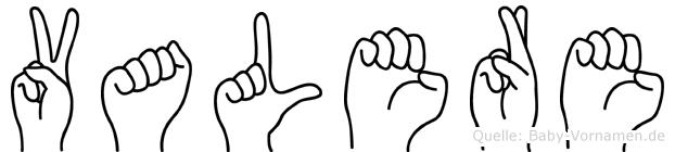 Valere im Fingeralphabet der Deutschen Gebärdensprache