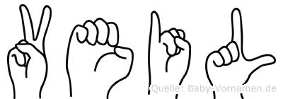 Veil im Fingeralphabet der Deutschen Gebärdensprache