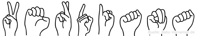 Verdiana im Fingeralphabet der Deutschen Gebärdensprache