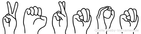 Vernon im Fingeralphabet der Deutschen Gebärdensprache