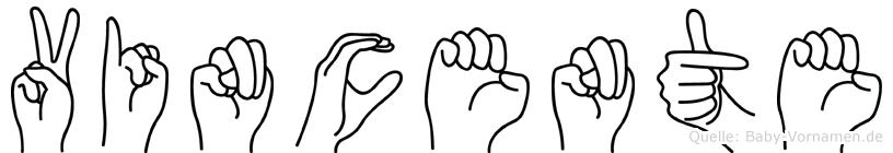Vincente im Fingeralphabet der Deutschen Gebärdensprache