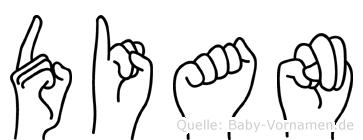 Dian im Fingeralphabet der Deutschen Gebärdensprache