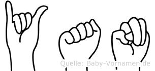 Yan im Fingeralphabet der Deutschen Gebärdensprache