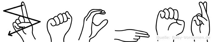 Zacher im Fingeralphabet der Deutschen Gebärdensprache