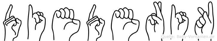 Diederik im Fingeralphabet der Deutschen Gebärdensprache