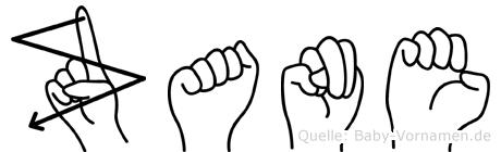 Zane im Fingeralphabet der Deutschen Gebärdensprache