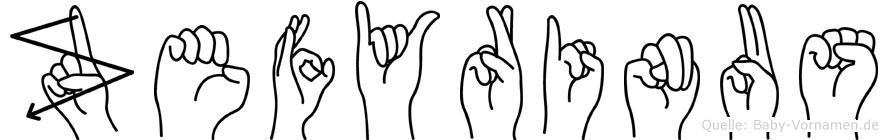 Zefyrinus in Fingersprache für Gehörlose