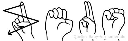 Zeus im Fingeralphabet der Deutschen Gebärdensprache