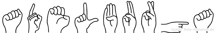 Adelburga im Fingeralphabet der Deutschen Gebärdensprache