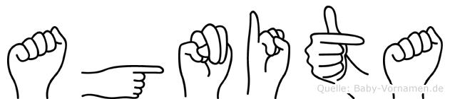 Agnita im Fingeralphabet der Deutschen Gebärdensprache