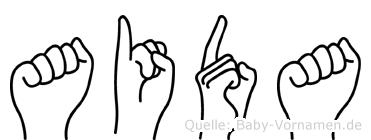 Aida im Fingeralphabet der Deutschen Gebärdensprache
