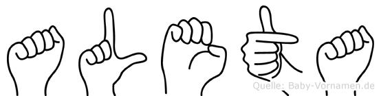 Aleta im Fingeralphabet der Deutschen Gebärdensprache