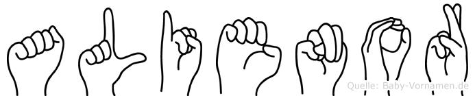 Alienor im Fingeralphabet der Deutschen Gebärdensprache