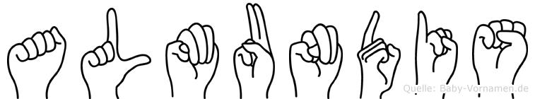 Almundis im Fingeralphabet der Deutschen Gebärdensprache