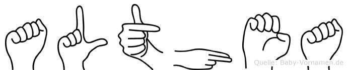 Althea im Fingeralphabet der Deutschen Gebärdensprache
