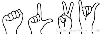 Alvy im Fingeralphabet der Deutschen Gebärdensprache