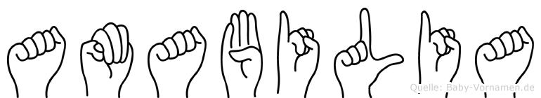 Amabilia im Fingeralphabet der Deutschen Gebärdensprache