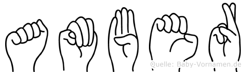 Amber im Fingeralphabet der Deutschen Gebärdensprache