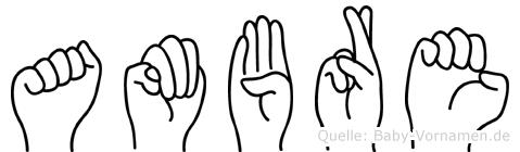 Ambre im Fingeralphabet der Deutschen Gebärdensprache