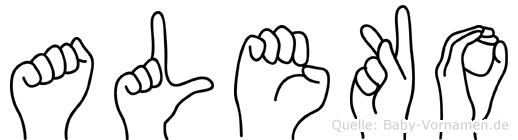 Aleko im Fingeralphabet der Deutschen Gebärdensprache