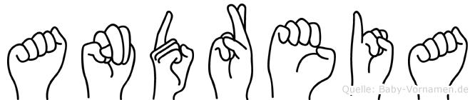 Andreia im Fingeralphabet der Deutschen Gebärdensprache