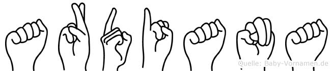 Ardiana im Fingeralphabet der Deutschen Gebärdensprache