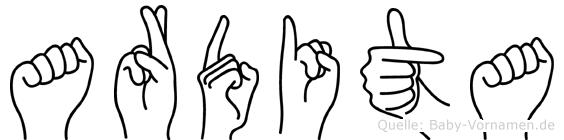 Ardita in Fingersprache für Gehörlose