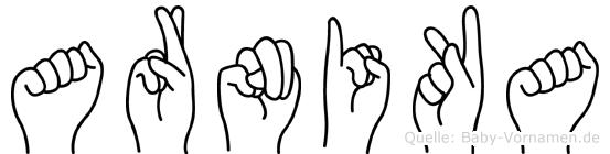 Arnika im Fingeralphabet der Deutschen Gebärdensprache