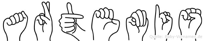Artemis im Fingeralphabet der Deutschen Gebärdensprache
