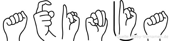 Axinja im Fingeralphabet der Deutschen Gebärdensprache