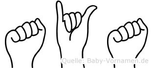 Aya im Fingeralphabet der Deutschen Gebärdensprache