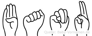 Banu im Fingeralphabet der Deutschen Gebärdensprache