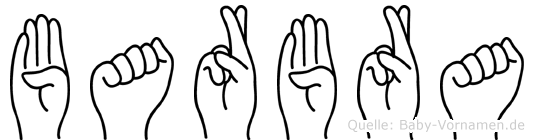 Barbra im Fingeralphabet der Deutschen Gebärdensprache