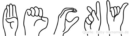 Becky im Fingeralphabet der Deutschen Gebärdensprache