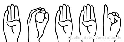 Bobbi im Fingeralphabet der Deutschen Gebärdensprache