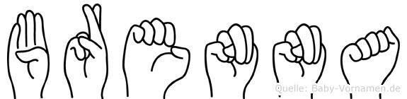 Brenna im Fingeralphabet der Deutschen Gebärdensprache
