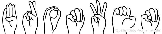 Bronwen im Fingeralphabet der Deutschen Gebärdensprache