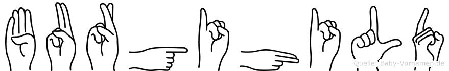 Burgihild im Fingeralphabet der Deutschen Gebärdensprache