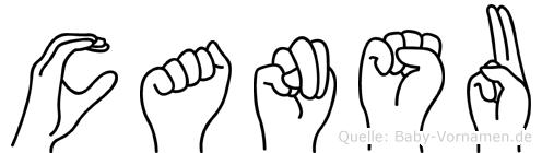 Cansu im Fingeralphabet der Deutschen Gebärdensprache