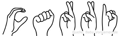 Carri im Fingeralphabet der Deutschen Gebärdensprache