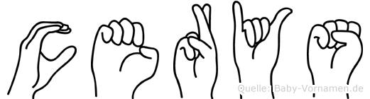 Cerys im Fingeralphabet der Deutschen Gebärdensprache