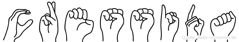 Cressida im Fingeralphabet der Deutschen Gebärdensprache