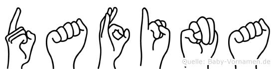 Dafina im Fingeralphabet der Deutschen Gebärdensprache