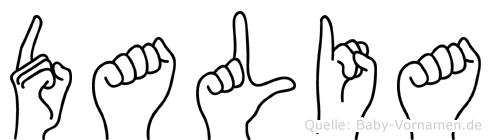 Dalia im Fingeralphabet der Deutschen Gebärdensprache